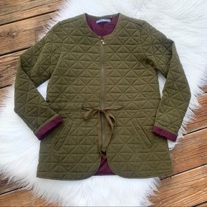 Signature Weekend Olive Green Quilted Coat M 10/12